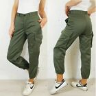 VTG Unisex High Waisted Slim Fit Army Cargo Camo Pants / Trousers Green 6 8 10