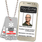 Medical Condition Aware Tag Necklace Chain Emergency ID Identity Alert Silver/Gr