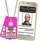 Pink Easy Seen Emergency Medical Alert ID Identity Tag Necklace ICE SOS SMS Fone