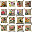 "18"" Vintage Flower Cotton Linen Cushion Cover Throw Pillow Case Sofa Home Decor image"