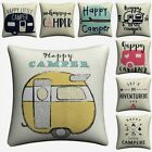 Happy Camper Kids Cartoon Decorative Linen Cushion Cover Pillow Covers Almofada