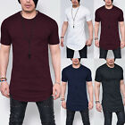 Mens Basic T-Shirt Short Sleeve Extended Casual Tee Shirts Longline Tops Blouses image