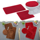 3 PCS BATHROOM SET RUG CONTOUR MAT TOILET LID COVER PLAIN SOLID COLOR BATHMATS