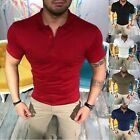 US Stylish Mens Slim Fit POLO Shirts Solid Short Sleeve Casual T-shirt Tee Tops image