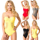 New Summer Women Sexy V-Neck Padded Bandage Backless Solid One-Piece Swimwear