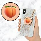 Peach Emoji Black and White Retractable Phone Grip Ring Holder Stand