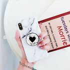 Black Heart Marble Aesthetic Retractable Phone Grip Ring Holder Stand
