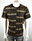 True Religion Brand Jeans Men's Gold Allover Typed Logo Crew T-Shirt Top -101456 image