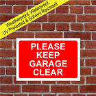Please keep garage clear sign or sticker 9039WR parking notice weatherproof