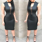 Sexy Bodycon Dresses Bandage Slim Sleeveless PU Leather Skinny Mini Dress S - XL