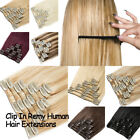 New 8 Pieces Set Remy Real Human Hair Extensions Clip In Black Brown Blonde US