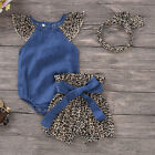 3PCS Newborn Kids Baby Girl Pretty Clothes Romper Bodysuit+Shorts Headband Set