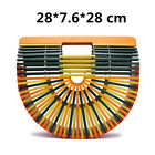 Retro Bamboo Acrylic Handbag Straw Bag Large Tote Beach Shoulder Bag Handmade
