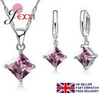 925 Sterling Silver CZ Crystal Earrings Necklace Pendant Set Jewellery Gift