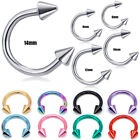 16g Spikes Circular Barbell Horseshoe Lip Nipple Septum Ring 6/8/10/12/14 Hoop image