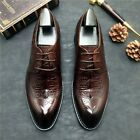 Mens Carving Lace Up Business Formal Pointed Toe Leather Brogues Shoes British