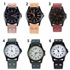 US Mens Sport Watches Army Military Leather Band Strap Quartz Casual Wrist Watch image