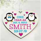 PERSONALISED Penguin Couples Wedding Anniversary Gifts for Wife Husband ANY Year