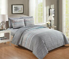 6 Piece Quilt Bedspread Set with Fitted Sheet Grey Queen King Size image