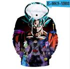 Anime Dragon Ball Z Hooded Goku 3D Print Fashion Hoodie Sweater Pullover Top US