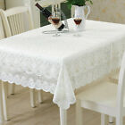 White Embroidered Tablecloth Rectangle Lace Table Cloth Cover Wedding Party