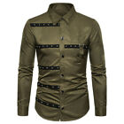 Men's Gothic Style Rivet Decoration Slim Long Sleeve Formal Shirt