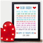 First 1st Fathers Day Gifts for Daddy PERSONALISED Gifts from Baby Son Daughter