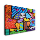"""Romero Britto CArt Oil Painting Print On Canvas Home Decor""""A Sitting Dog"""""""