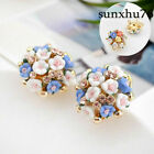 1 Pair Women Elegant Flower Crystal Rhinestone Ear Stud Fashion Earrings Jewelry image