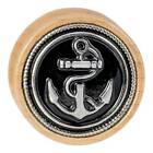 Organic Anchor Double Flared Wood Plugs Body Jewelry Navy Brown Solid Pair Cool