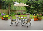 6 Piece Patio Dining Set Folding Table Chairs Umbrella Outdoor Garden Furniture