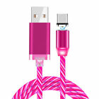Magnetic Flowing Light LED Fast Charging Micro USB C Type-C Phone Charger Cable