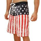 Mens USA Flag Distressed Patriotic Flag 4th of July Board Shorts with Pocket
