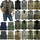 Men's Multi-Pocket Fishing Mesh Vest Photography Camping Jacket Zip Waistcoat US