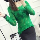 Women Floral Lace Sheer T Shirt Top Mesh See Through Slim Long Sleeve Blouse New