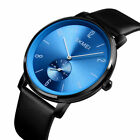 Sport Men Stainless Steel Case Leather Band Quartz Analog Wrist Watch Waterproof image
