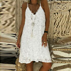 Women Summer Sleeveless Solid Casual V Neck Dress Loose Plus Size Lace Dress CA