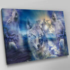 A467 Three Wolves Howling Ocean Waves Canvas Wall Art Animal Picture Large Print