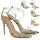 Womens High Heel Sandals Perspex Ladies Clear Stilettos Strappy Party Shoes Size