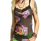 STRAPPY VEST LACE NECK TOP GOTHIC PURPLE FLAME SKULLS  ALTERNATIVE