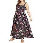 Plus Size Womens Pleated Summer Long Maxi Dress Ladies Holiday Party Sundress 22