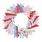 36PC Fabric Bunting Banner Double Sided Flags Garland Floral Pennant Party Decor