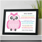 Personalised Owl Teacher Thank You Gifts - Nursery School Leaving Owl Poem Gift