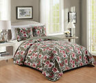 3 Piece Embroidery Reversible Green Leaf Floral Bedspread Quilt Set Queen King  image