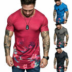 HOT Men T-Shirt Slim Fit Casual Tops Summer Clothes Muscle Thin Gym Tee Blouse image