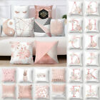 Pink Cushion Cover Letter Print Pillow Case Throw Pillowcase Car Home Decoration
