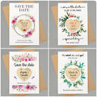 Save The Date Cards Magnets PERSONALISED Rustic Floral Wooden Save The Dates