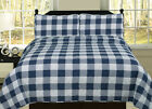 Buffalo Check Plaid Stripe Checkered Quilt Bedding Set, Navy and White image