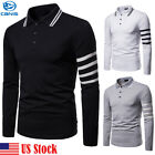 MENS POLO SHIRT TOP LONG SLEEVE PIQUE DESIGNER PLAIN T-SHIRT TEE HORSE GOLF NEW