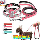 Dog Harness Leash Set Suede Leather Rhinestone Pet Harnesses Walking Leads S-L